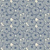 Flower Pattern On Beige Background.