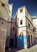 Narrow Streets Of Old Medina Of Tangier, Morocco. Instagram Effect