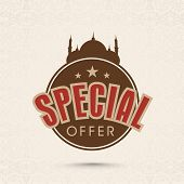 Offer and discount sale tag in brown color for the festival of Eid Mubarak.
