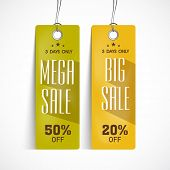 Offer and discount sale tags in green and blue color for the festival of Eid Mubarak.