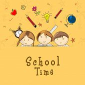 School time concept with cute little kids and stationery on yellow background.