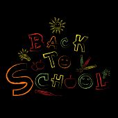 Shiny colorful text Back to School on black background.