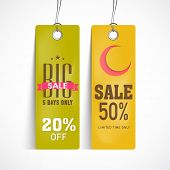 Offer and discount sale tags in green and yellow color for the festival of Eid Mubarak.