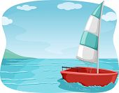 Illustration of a Sailboat Sailing in the Ocean