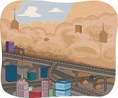 Illustration Featuring a Sandstorm Sweeping Through a City