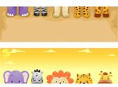 Banner Illustration Featuring Cute Safari Animals