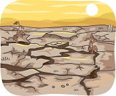 Illustration Featuring the Effects of Drought on an Expanse of Land