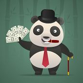 Panda smoking cigar and holds money