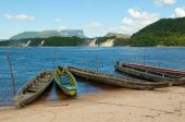 stock photo of canaima  - Canaima lagoon sandy beach and fisherman boats Venezuela - JPG