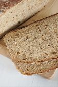 image of home-made bread  - Freshly baked home made malted wholemeal bread - JPG