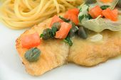 image of artichoke hearts  - Delicious gourmet chicken piccata with noodles - JPG