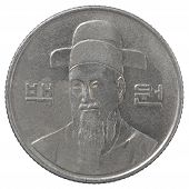 pic of won  - One hundred south korean wons coin isolated on white background - JPG