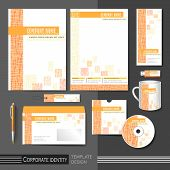 Corporate Identity Template With Orange Mesh Elements.