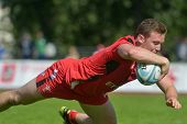 MOSCOW, RUSSIA - JUNE 29, 2014: Iolo Evans of Wales in the match for place 5 with Russia during the