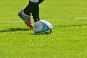 MOSCOW, RUSSIA - JUNE 29, 2014: Rugby ball on the grass during the FIRA-AER European Grand Prix Seri