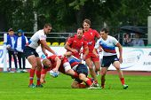 MOSCOW, RUSSIA - JUNE 28, 2014: Match between Russia and Wales (red uniforms) during the FIRA-AER Eu