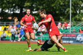 MOSCOW, RUSSIA - JUNE 29, 2014: Match for place 5 between Russia and Wales (red uniforms) during the