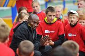 ZHUKOVSKY, MOSCOW REGION, RUSSIA - JUNE 27, 2014: IAAF World Champion Wilson Kipketer of Denmark giv