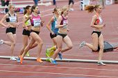 ZHUKOVSKY, MOSCOW REGION, RUSSIA - JUNE 27, 2014: Female athletes in the women 5000 meters during Zn