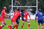 MOSCOW, RUSSIA - JUNE 28, 2014: Match between France (blue uniform) and Georgia during the FIRA-AER