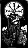 Norse God Odin And Wheel Symbol