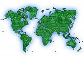 stock photo of land-mass  - World map with circuit board design and blue seas on white - JPG