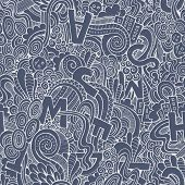 Letters abstract decorative doodles seamless pattern.