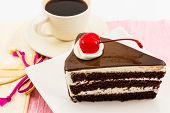 Chocolate Cake Slice And Coffee Cup.