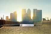 LONDON, CANARY WHARF UK - MAY 18, 2014: Canary Wharf business district view from river Thames
