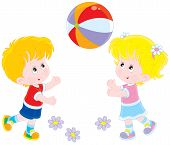 foto of kiddy  - Little girl and boy playing with their big colorful ball - JPG