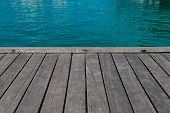 Summer background - sea and wooden pier