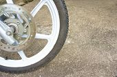 Old Black Magnesium Alloy Wheel Of Motorcycle And Disc Brake