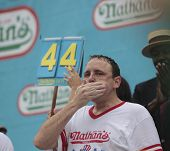 Champion Joey Chestnut inhales another