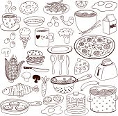 Food Doodles set, for banners, backgrounds, presentations.
