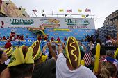 Spectators in hotdog hats