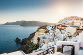 Beautiful White Architecture On Santorini Island, Greece