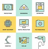 Digital Engineering And Production Flat Icons Set
