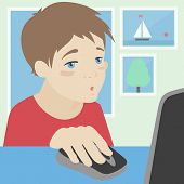 Child Using A Computer At Home Illustration