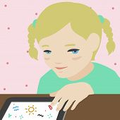 Little Girl Drawing On Digital Tablet Illustration