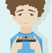 Game Over Boy Flat Illustration