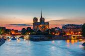 Cathedral Of Notre Dame De Paris At Sunset