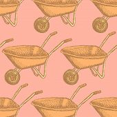 Sketch Barrow, Vector Vintage Seamless Pattern