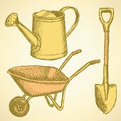 Sketchwatering Can, Shovel And Barrow, Vector  Background