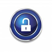 Unlock Circular Blue Vector Web Button Icon
