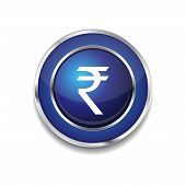 Rupee Currency Sign Circular Vector Blue Web Icon Button