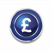 Pound Currency Sign Circular Vector Blue Web Icon Button