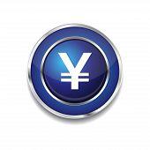 Yen Currency Sign Circular Vector Blue Web Icon Button