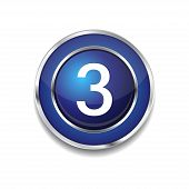 3 Number Circular Vector Blue Web Icon Button