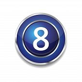 8 Number Circular Vector Blue Web Icon Button