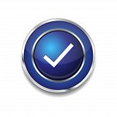 Tick Mark Circular Vector Blue Web Icon Button